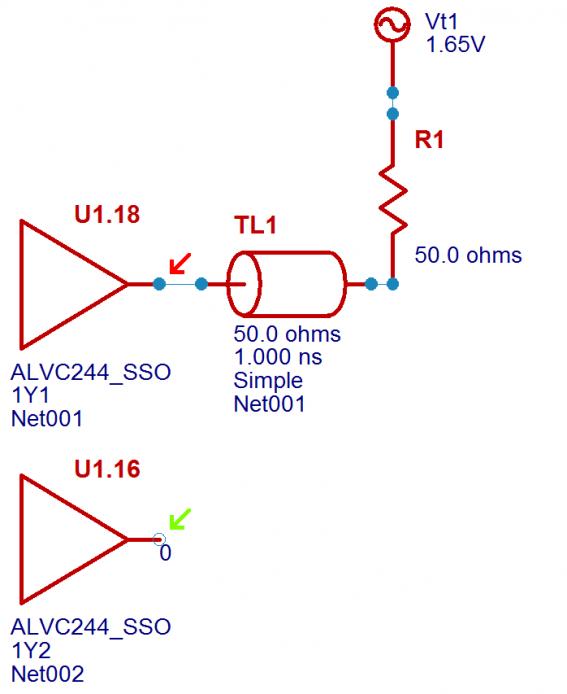Hyperlynx SSN simulation schematic